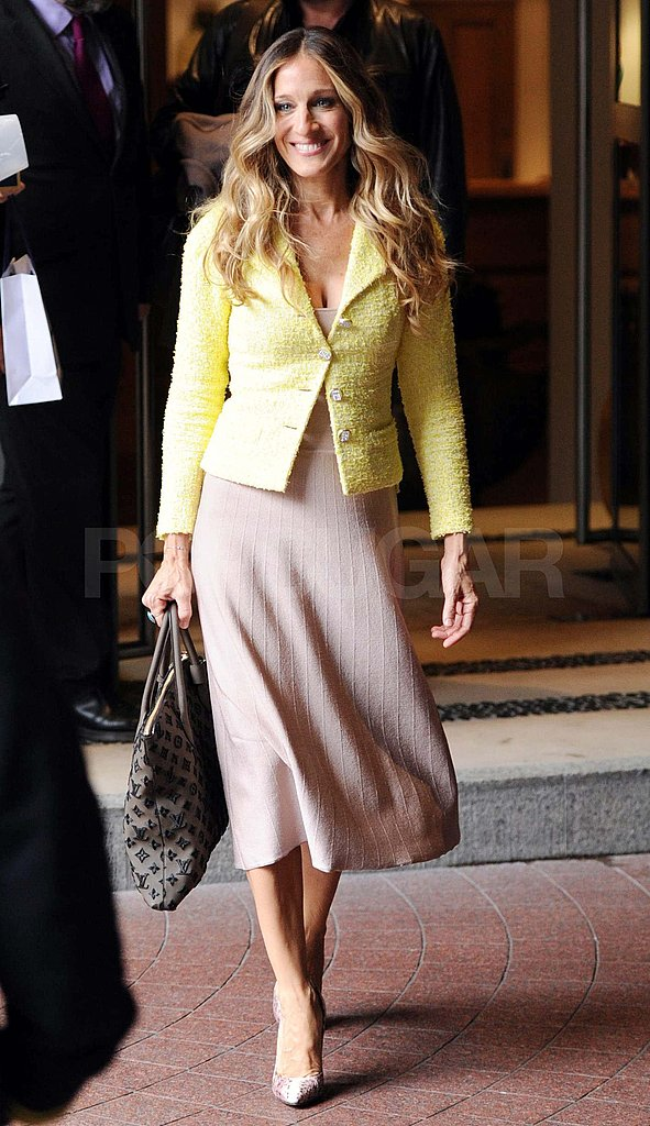Sarah Jessica Parker in a yellow jacket in London.