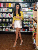 Kourtney Kardashian filming Kourtney and Kim Take NY at a health food store.