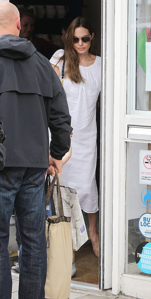 Angelina Jolie in a white dress in London.