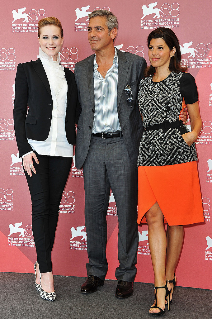 Marisa Tomei, George Clooney, and Evan Rachel Wood at the Venice Film Festival.