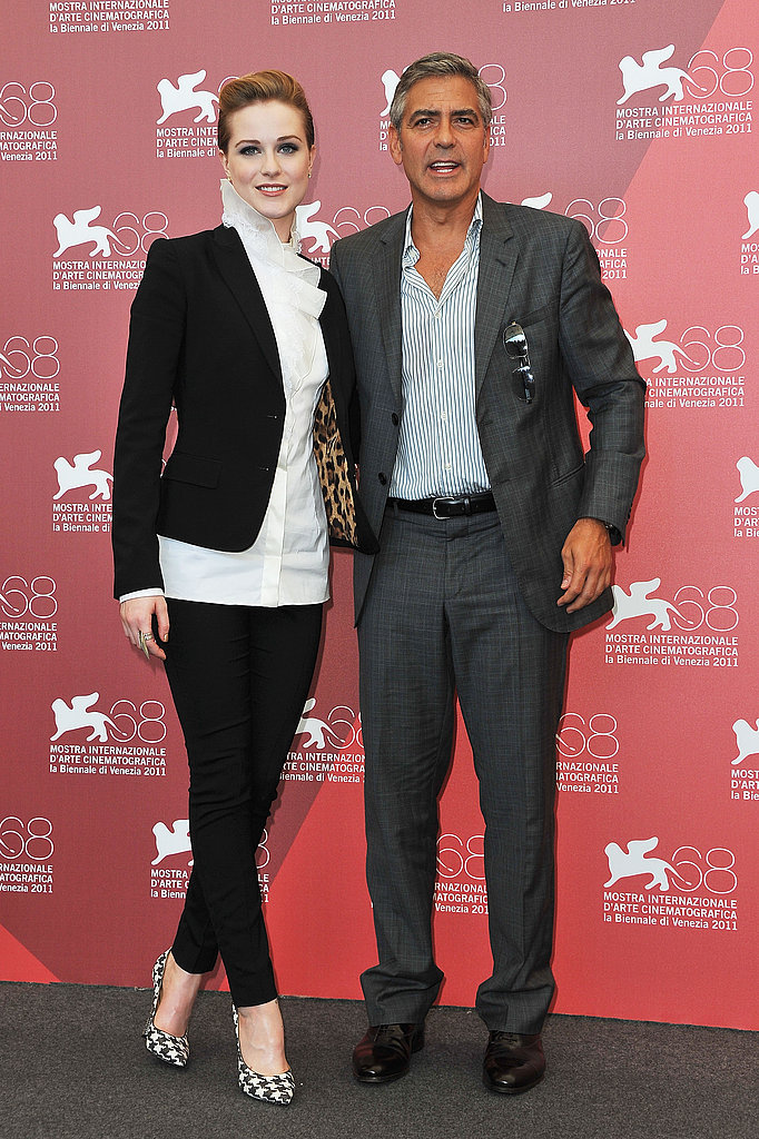 George Clooney and The Ides of March costar Evan Rachel Wood.