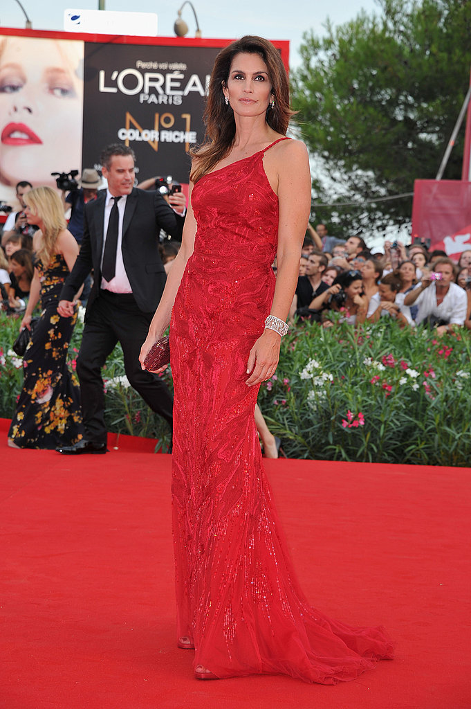 Cindy Crawford in a red gown at the Venice Film Festival.