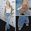 Ali Larter Wearing a Gold Jacket and Jeans