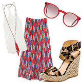 Head to brunch in this mixed print ensemble.  Inhabit Open-knit Tank ($78, originally $150), Forever 21 Feather Necklace ($6), Mara Hoffman Red Arrows Maxi Skirt ($334), Selima Optique Andy Acetate Sunglasses ($325), Stuart Weitzman X-Ray Wedge ($398)