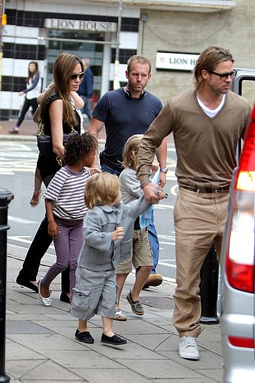 Brad Pitt and Angelina Jolie take their kids to see The Smurfs.