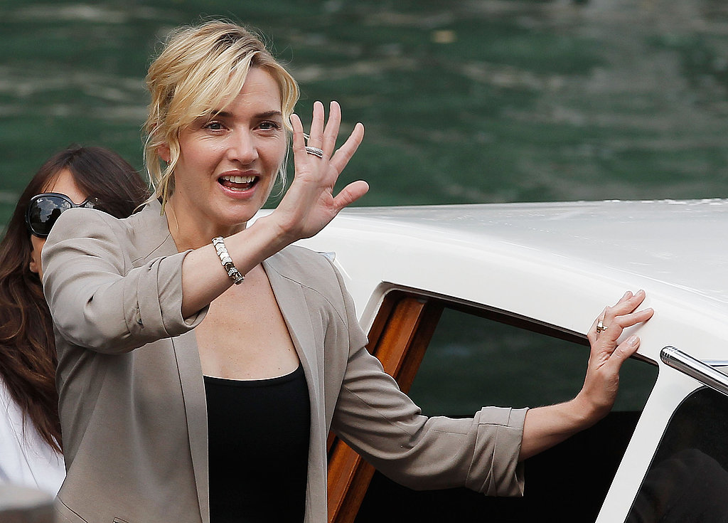 Kate Winslet waves in Venice.