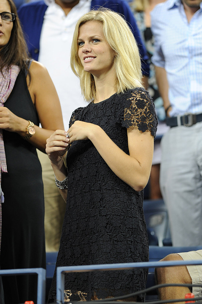 Brooklyn Decker watched from the stands while her husband hit the court.