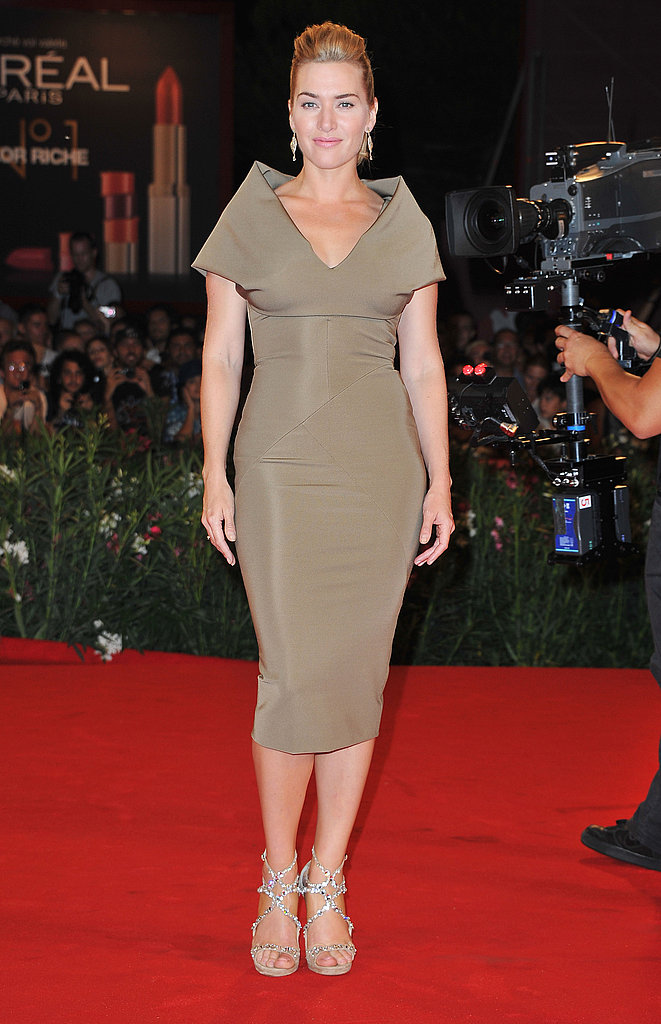 Kate Winslet chose a neutral sheath and strappy heels for the debut.