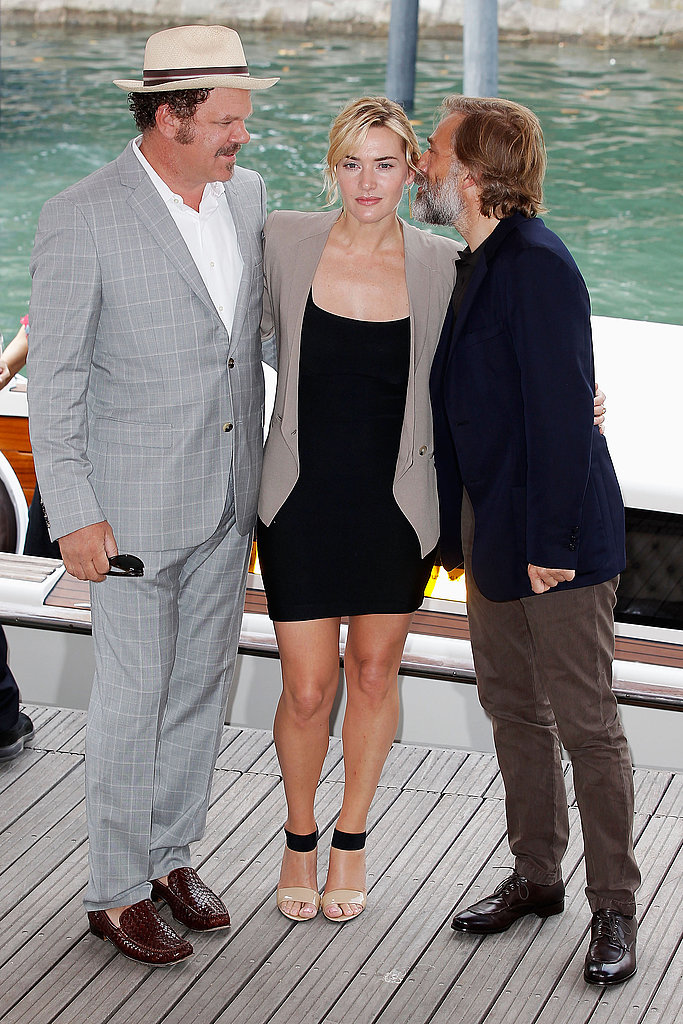 Kate Winslet, Christoph Waltz, and John C. Reilly at the Venice Film Festival for Carnage.