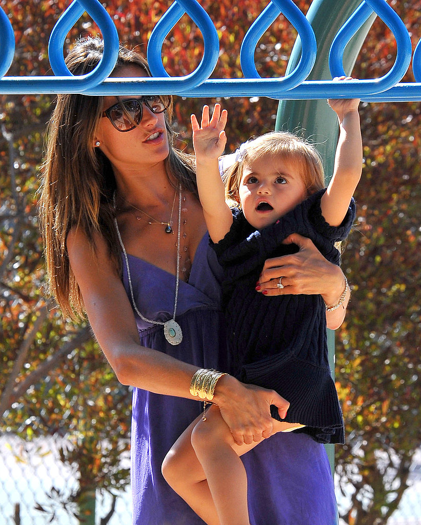 Alessandra Ambrosio and Anja on the monkey bars.