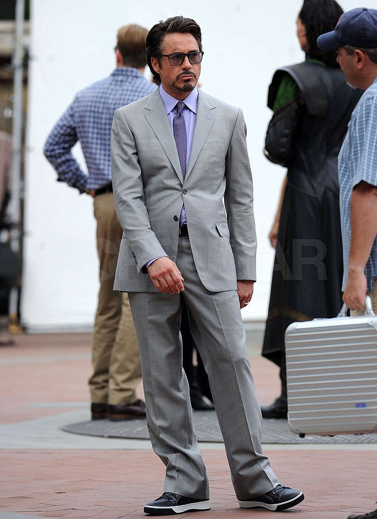 Robert Downey Jr. relaxed between takes.