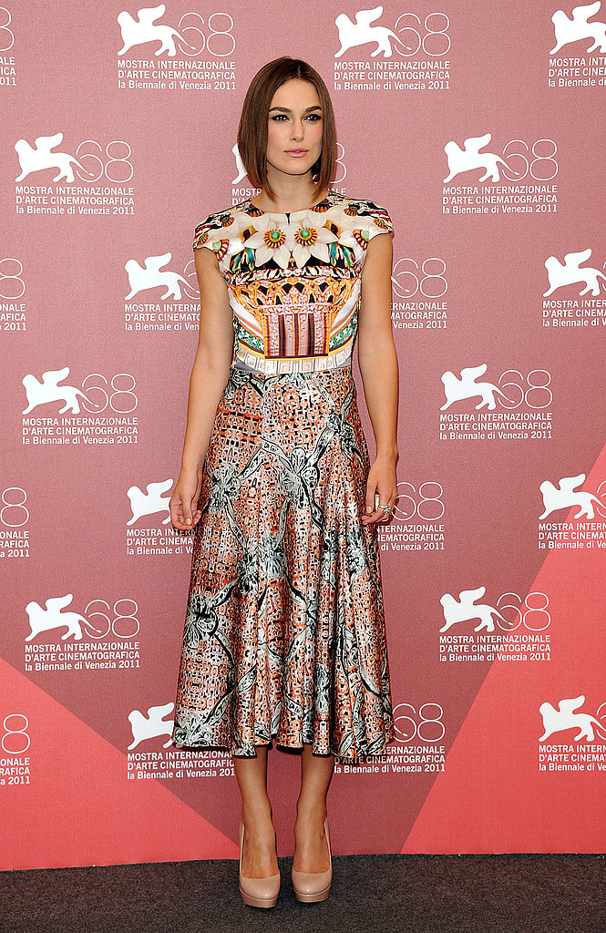 Keira Knightley looked gorgeous in printed midi-length dress by Mary Katrantzou.