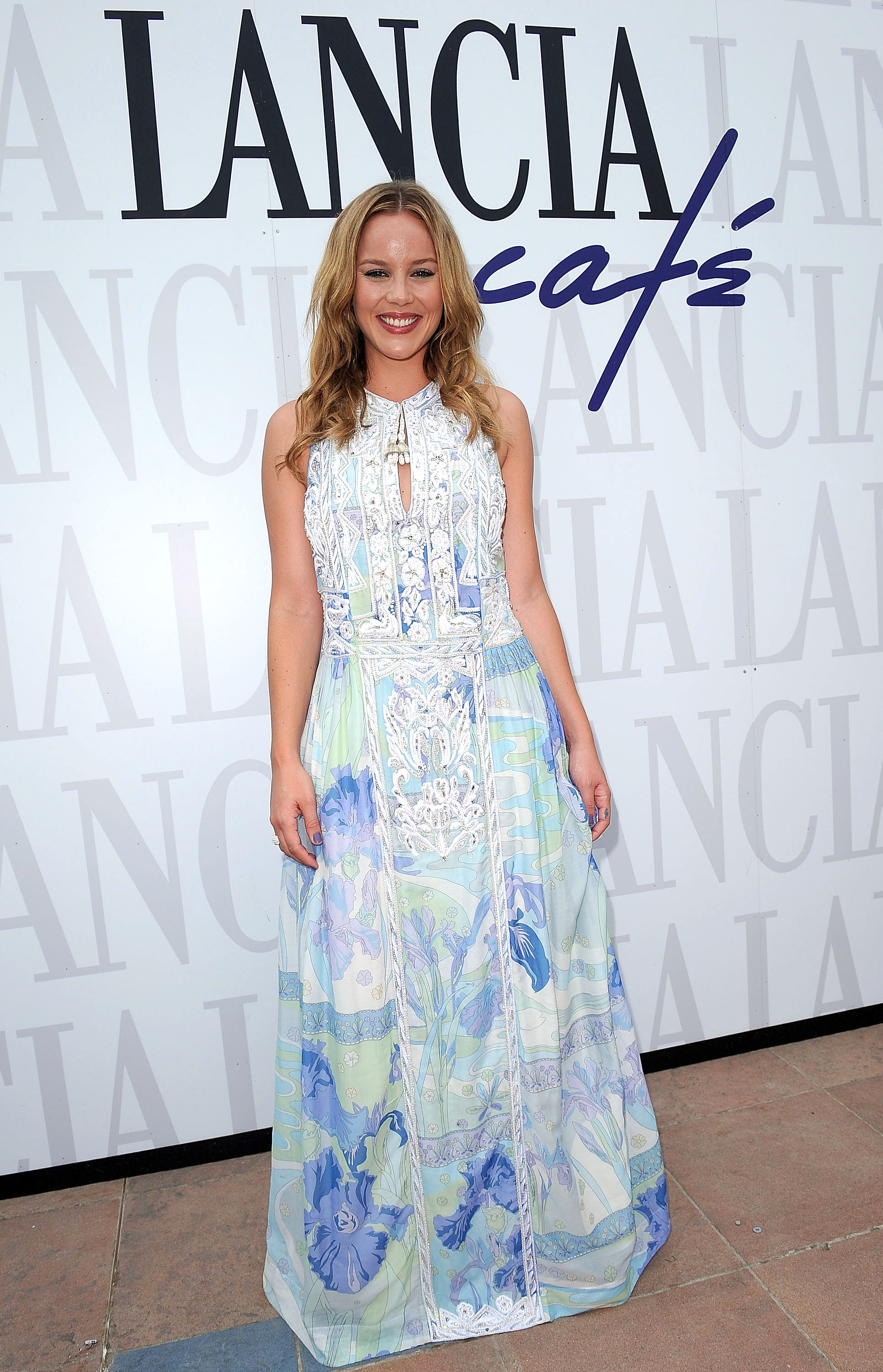 Abbie Cornish donned a long, print maxi dress at the Lancia Cafe.