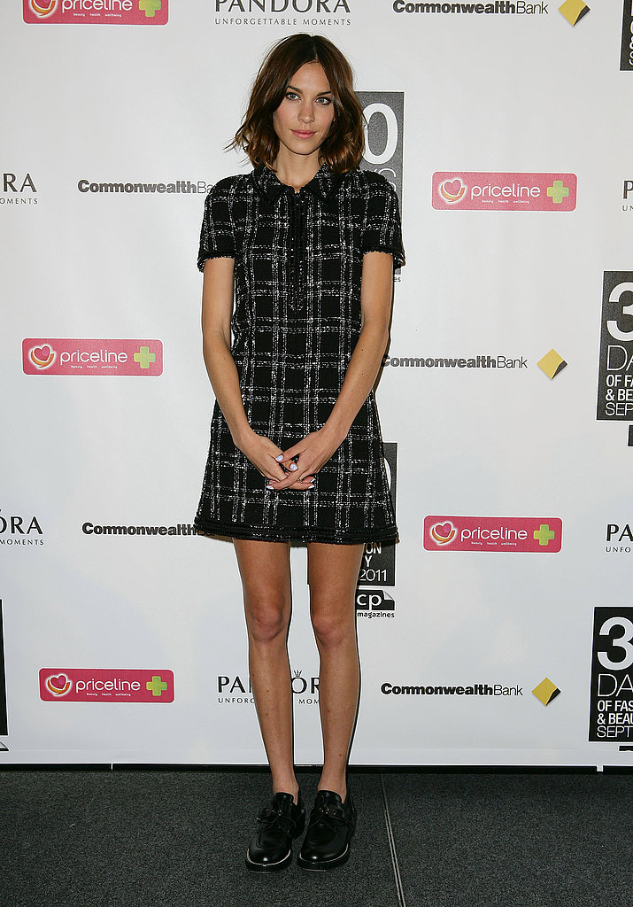 Alexa Chung showed off a chic tomboy look in a houndstooth dress and oxfords at the 30 Days of Fashion and Beauty event in Australia.