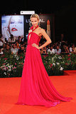 Natasha Poly in a stunning pink gown by Gucci.
