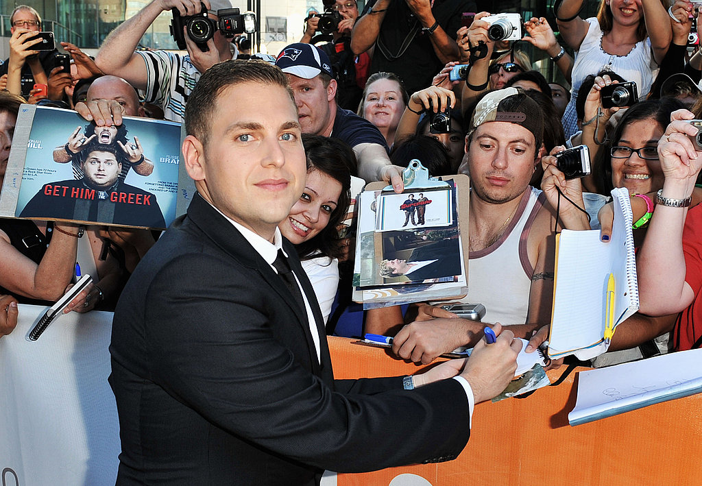 Jonah Hill signed autographs for the crowd.