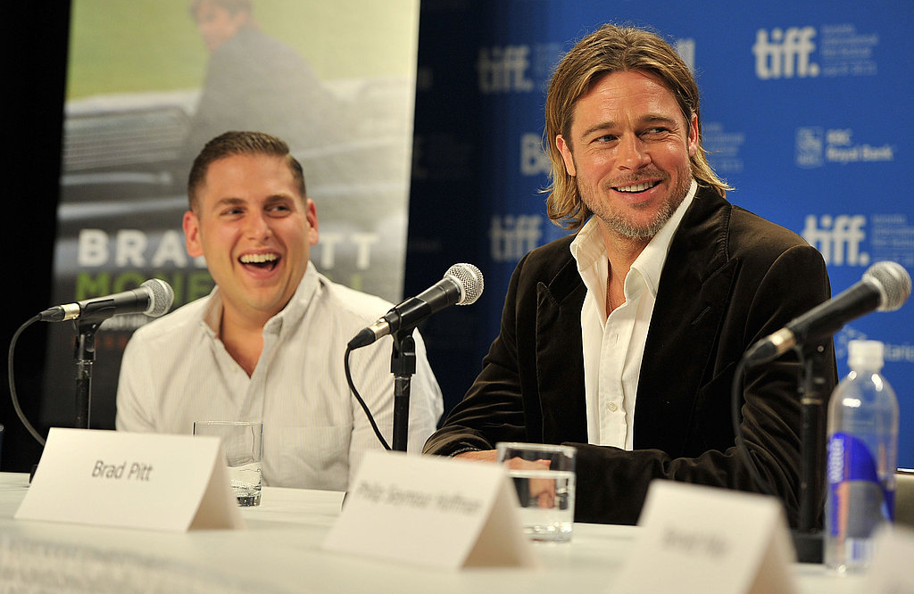 Brad Pitt and Jonah Hill shared a laugh.