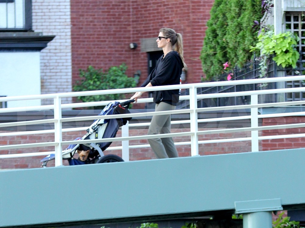 Gisele Bundchen and her son in Boston.