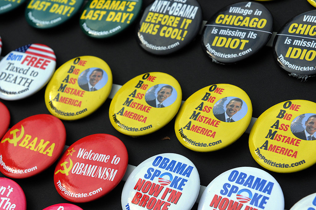 Buttons are sold at Sarah Palin's rallies.