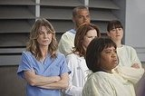 Chandra Wilson as Dr. Miranda Bailey, Jesse Williams as Dr. Jackson Avery, Sarah Drew as Dr. April Kepner, and Ellen Pompeo as Dr. Meredith Grey on Grey's Anatomy.  Photo copyright 2011 ABC, Inc.