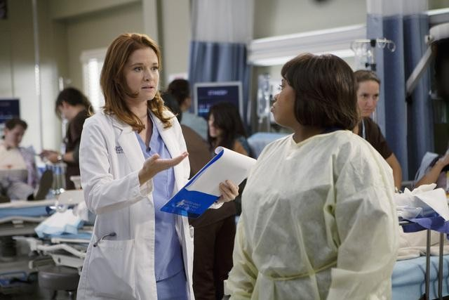 Sarah Drew as Dr. April Kepner and Chandra Wilson as Dr. Miranda Bailey on Grey's Anatomy.  Photo copyright 2011 ABC, Inc.