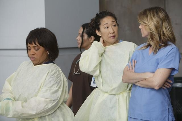 Chandra Wilson as Dr. Miranda Bailey, Sandra Oh as Dr. Cristina Yang, and Ellen Pompeo as Dr. Meredith Grey on Grey's Anatomy.  Photo copyright 2011 ABC, Inc.