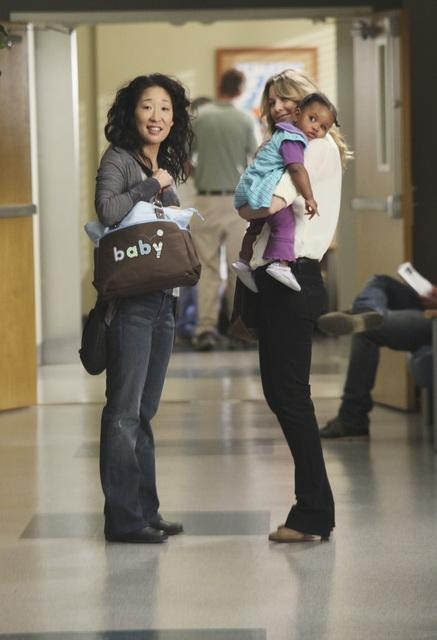 Sandra Oh as Dr. Cristina Yang and Ellen Pompeo as Dr. Meredith Grey  on Grey's Anatomy.  Photo copyright 2011 ABC, Inc.