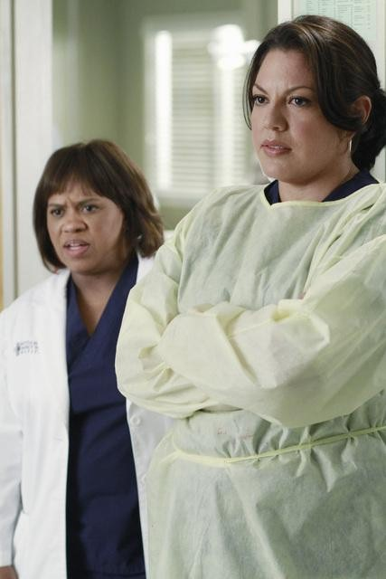Chandra Wilson as Dr. Miranda Bailey and Sara Ramirez as Dr. Callie Torres on Grey's Anatomy.  Photo copyright 2011 ABC, Inc.