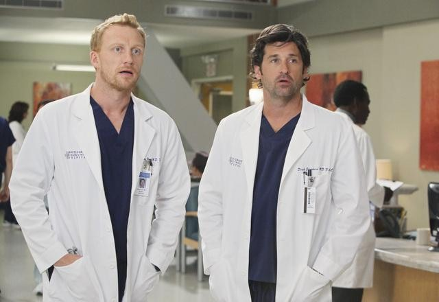 Kevin McKidd as Dr. Owen Hunt and Patrick Dempsey as Dr. Derek Shepherd on Grey's Anatomy.  Photo copyright 2011 ABC, Inc.