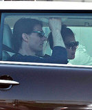 Tom Cruise hopped in the passenger seat of their brown Mini Cooper.