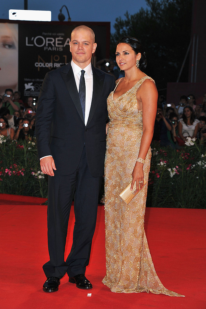 Matt Damon's beautiful wife, Luciana Barroso, wore a gold, beaded gown by Gustavo Cadile at the Contagion premiere.