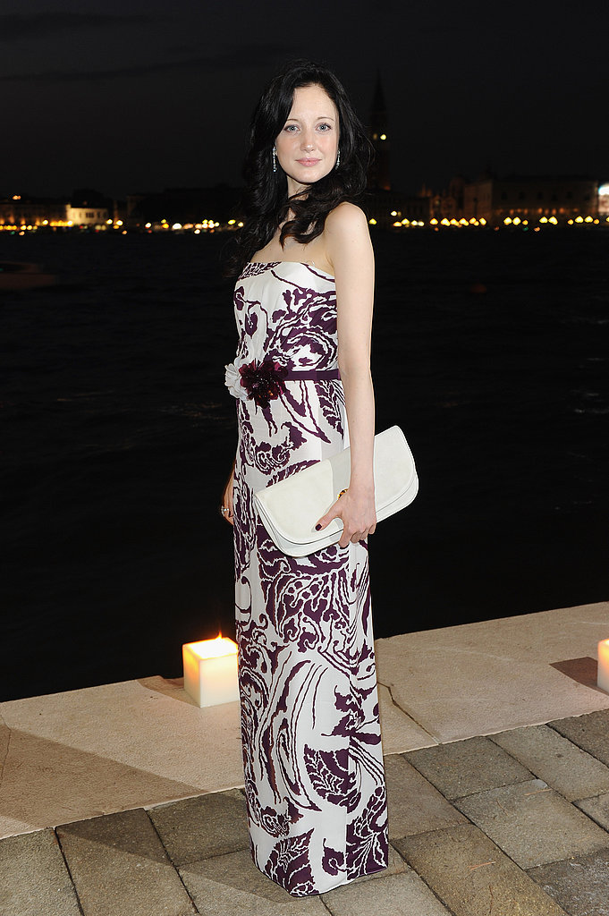Andrea Riseborough opted for a pretty, printed gown by Gucci at the Gucci Award For Women in Cinema event.