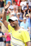 Donald Young shows a cute smile after defeating Juan Ignacio Chela of Argentina on Sunday.