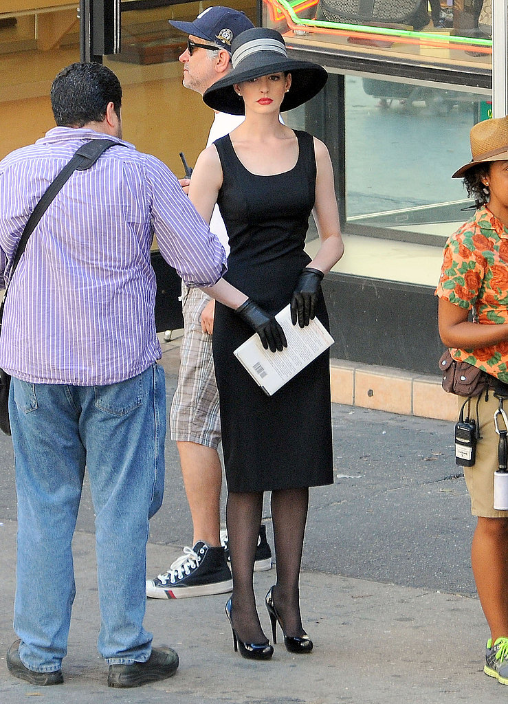 Anne Hathaway as Selina Kyle on the set of The Dark Knight Rises.