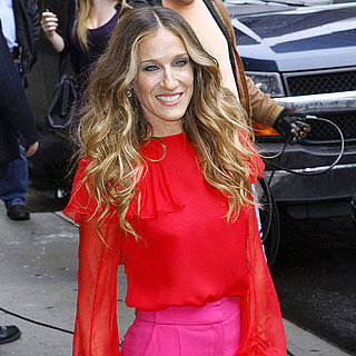 Sarah Jessica Parker in Pink & Red at David Letterman