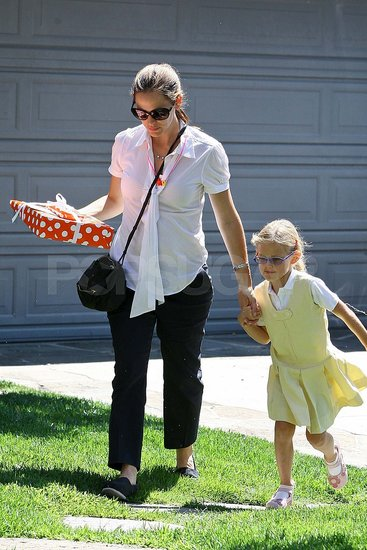 Pregnant Jennifer Garner with Violet Affleck at a friend's birthday.