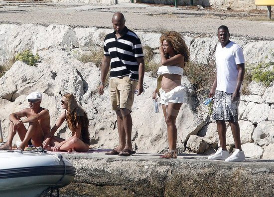 Beyoncé Knowles in a white bikini.