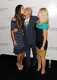 Jordana Brewster with Max Azria and Elisha Cuthbert at Fashion Week.