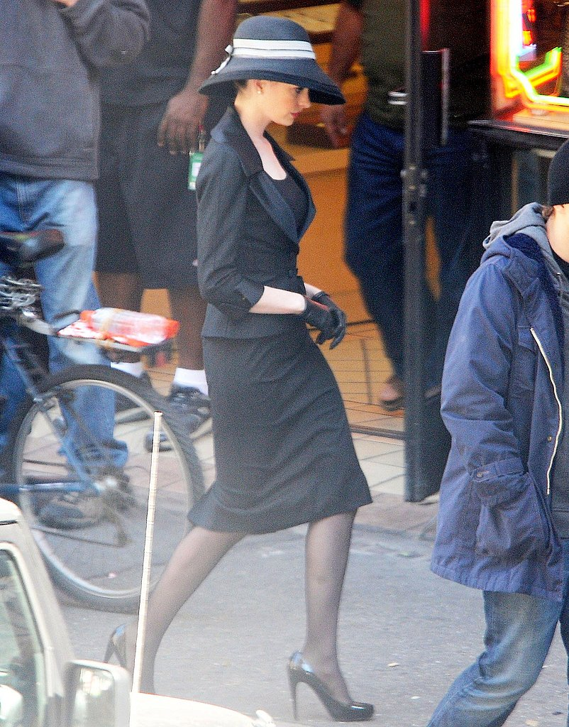 Anne Hathaway on set.