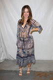 Sophia Bush attended the BCBG Max Azria show in sheer printed dress and wraparound sandals.