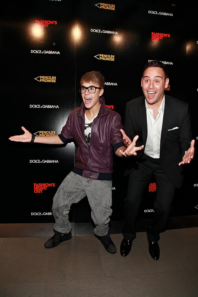 Justin Bieber joked around with his manager, Scooter Braun.