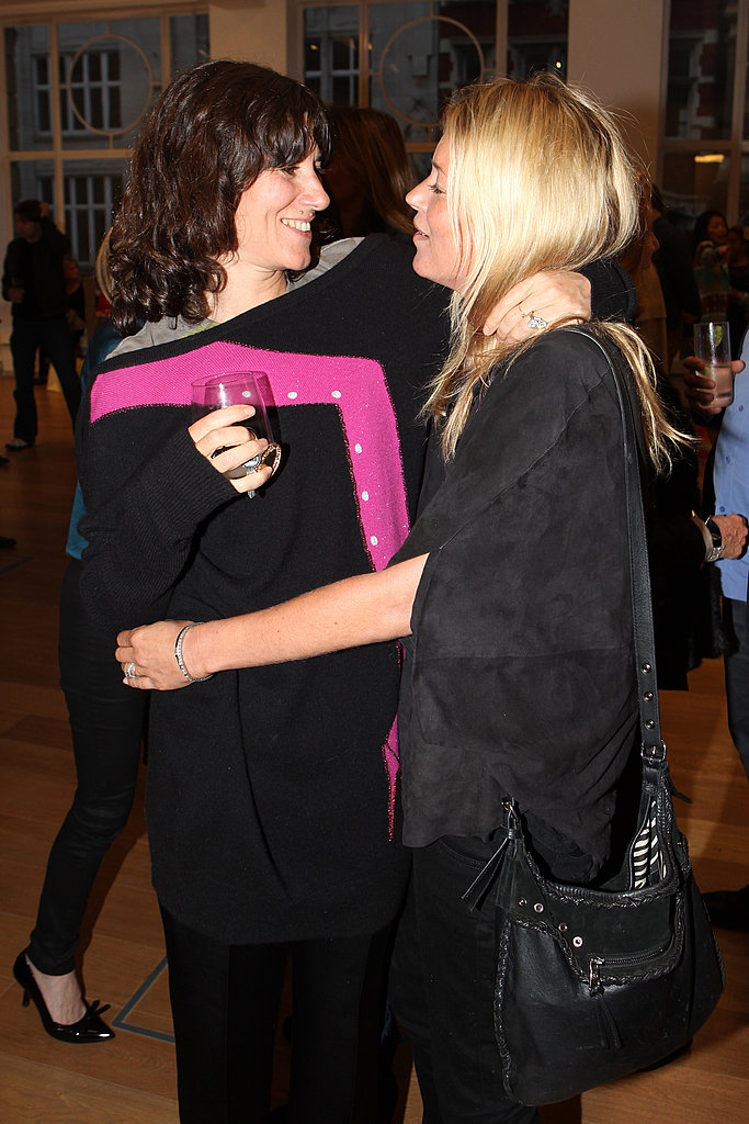 Bella Freud and Kate Moss at the debut screening of a short film collaboration between Bella Freud and director Martina Amati at Max Wigram Gallery.
