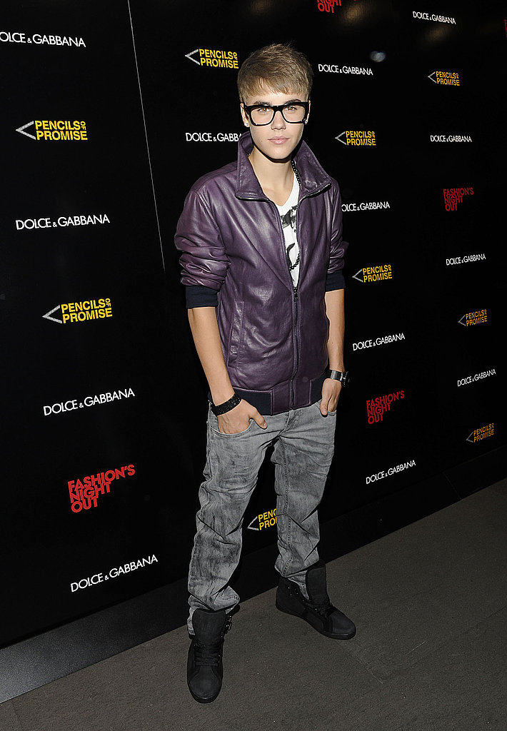 Justin Bieber at Dolce & Gabbana's Fashion's Night Out celebration.