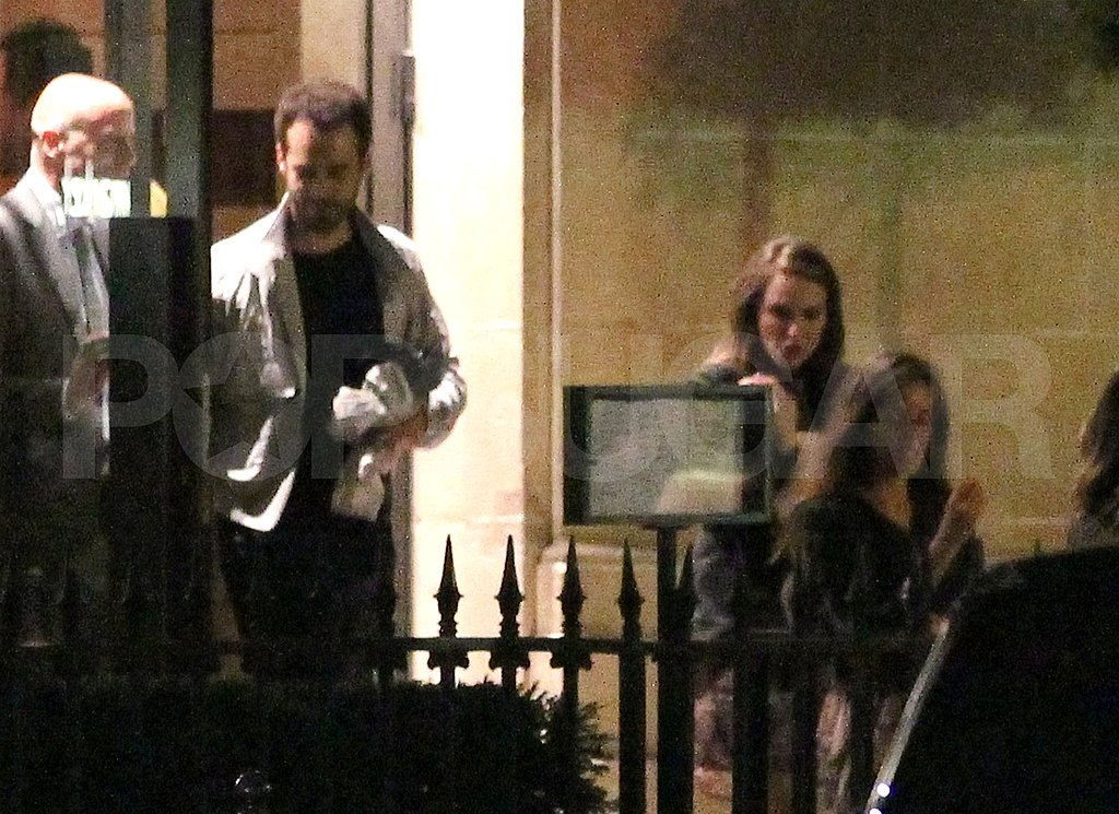 Natalie Portman leaves dinner with her son.