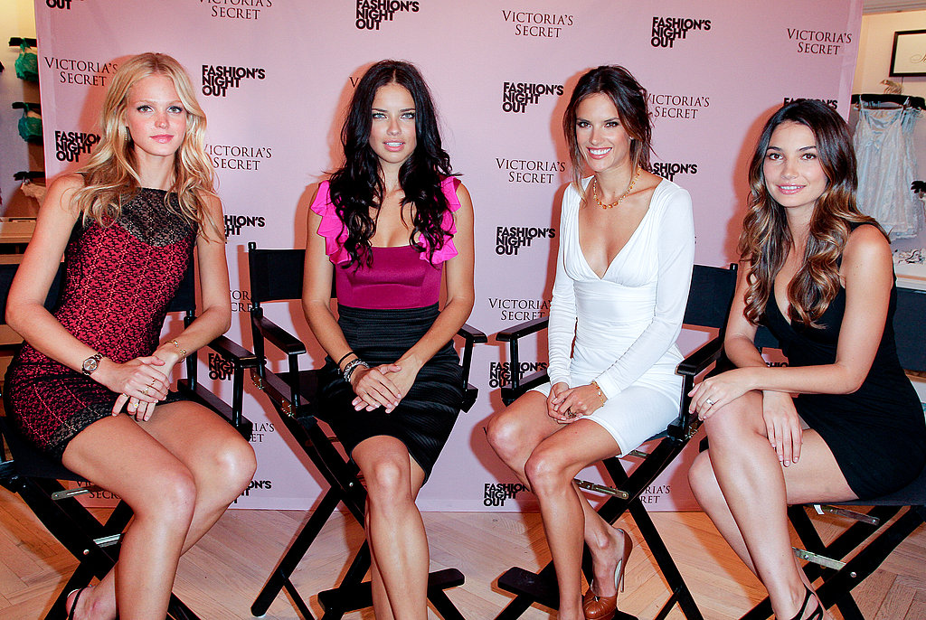 VS Angels Adriana Lima, Alessandra Ambrosio, Lily Aldridge, and Erin Heatherton.