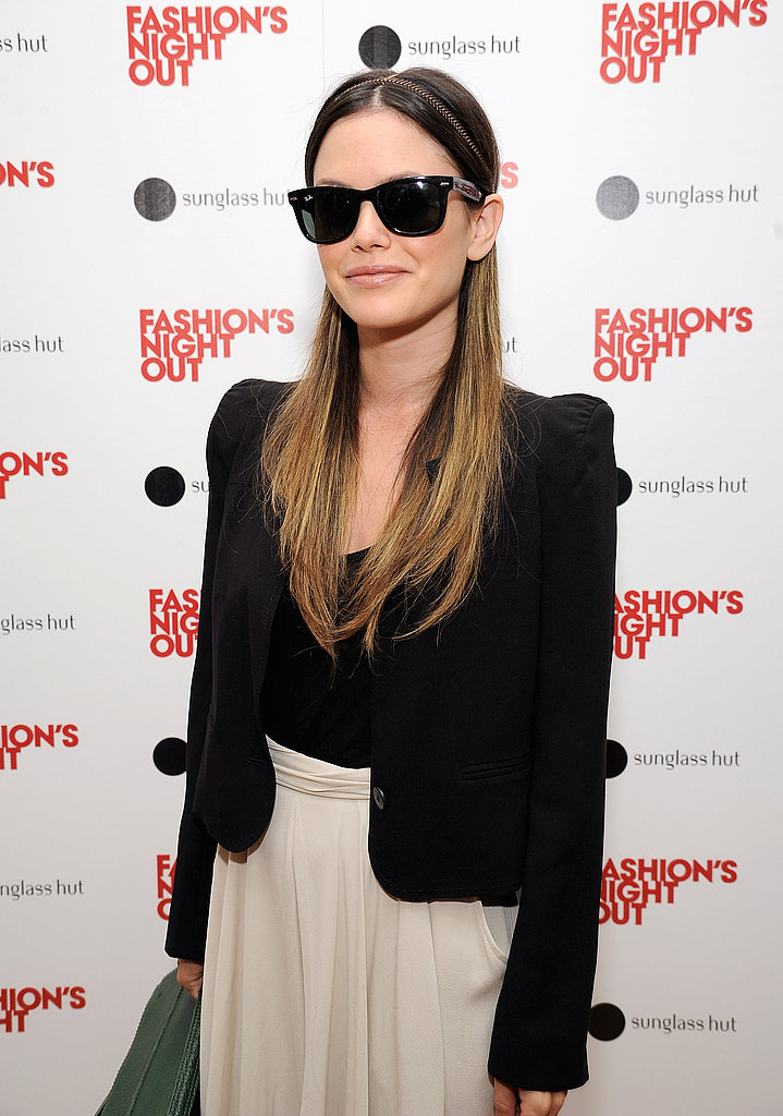 Rachel Bilson wore a headpiece on Fashion's Night Out.
