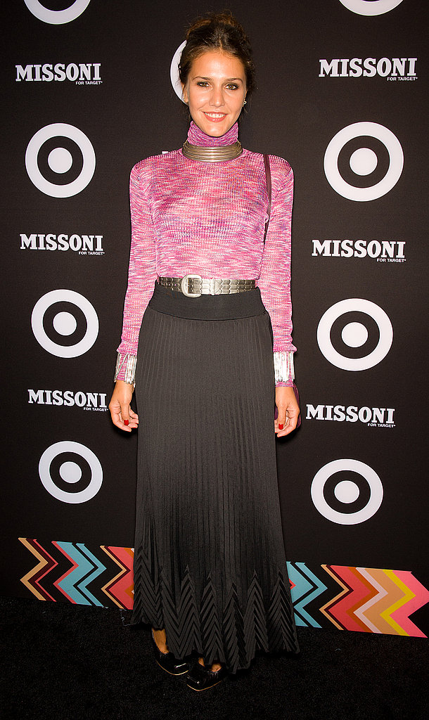 Margherita Missoni tucked a space-dyed turtleneck into a chic black maxiskirt for the Missoni for Target launch event.
