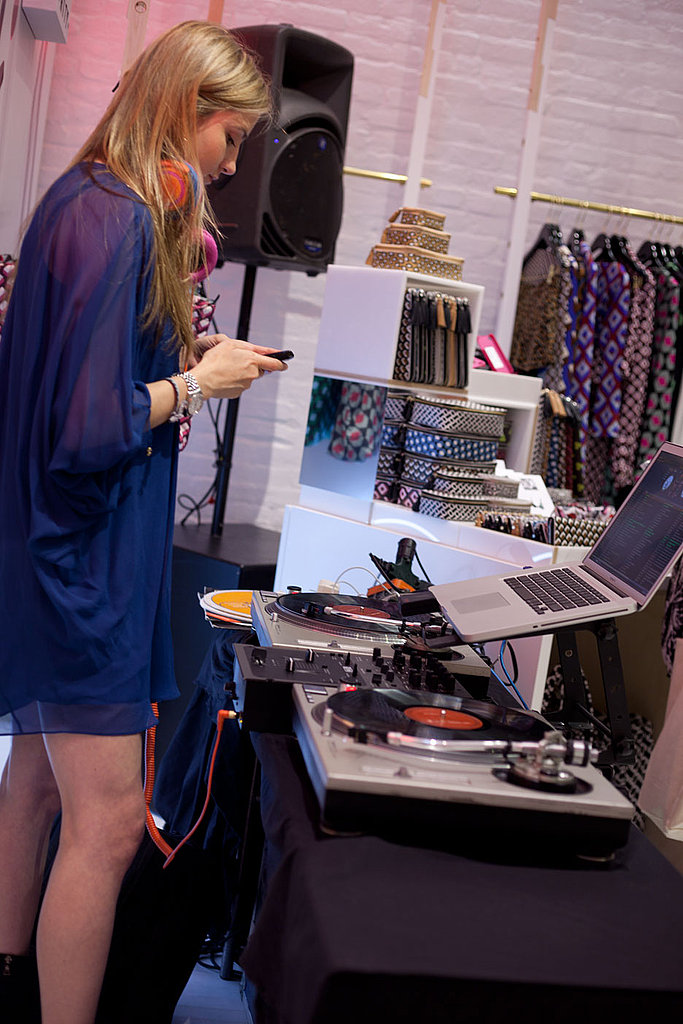 The DJ in a pretty, sheer purple dress while spinning tunes at the DvF store in SoHo.