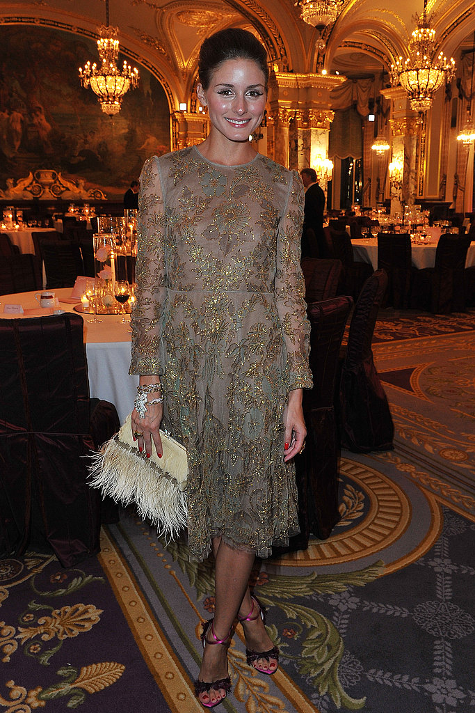 Olivia Palermo looked totally elegant in a beaded Valentino dress and fuchsia sandals.
