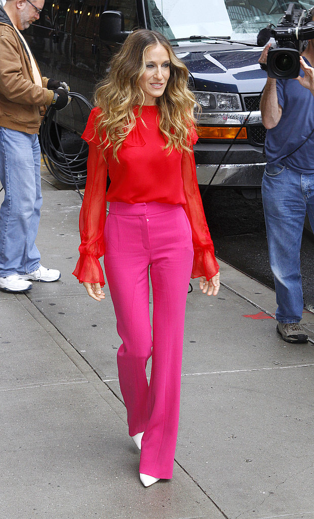 For a TV appearance, Sarah Jessica Parker looked pretty in pink pants and a red blouse by Prabal Gurung.